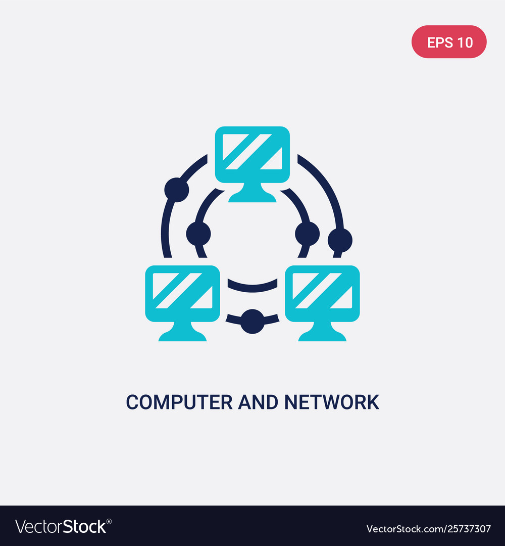 Two color computer and network icon from