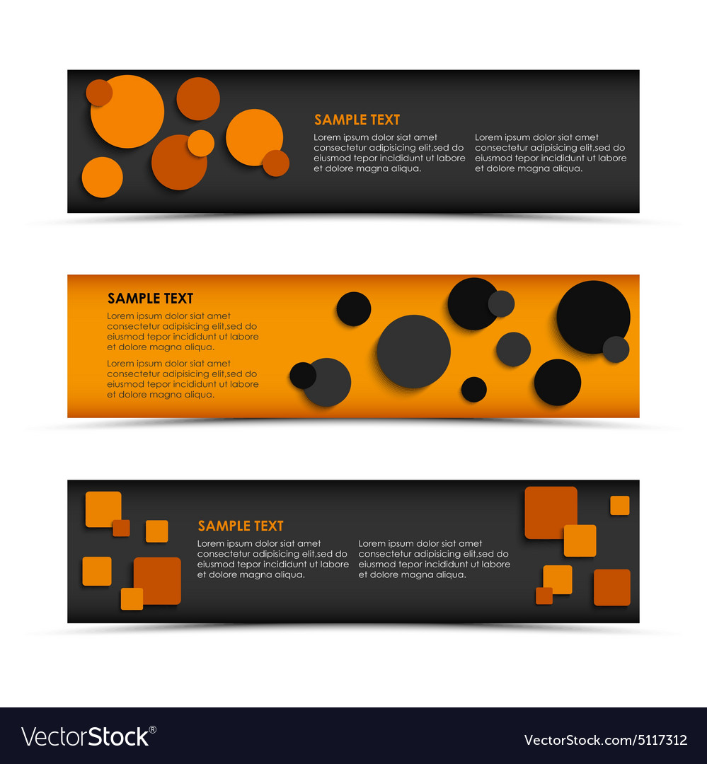 Abstract horizontal banners with rounds and