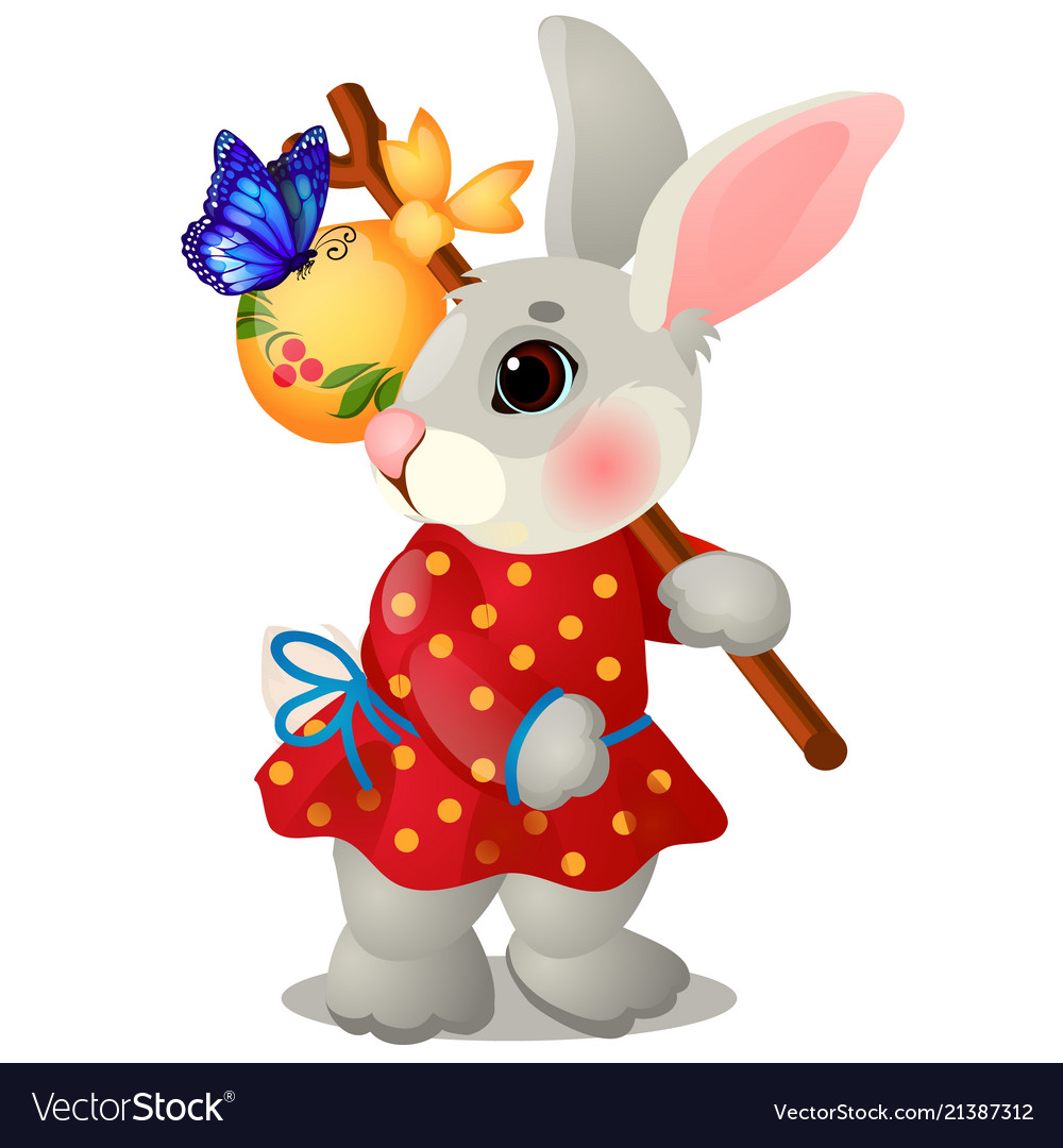 Animated hare with a bag and clothes isolated on
