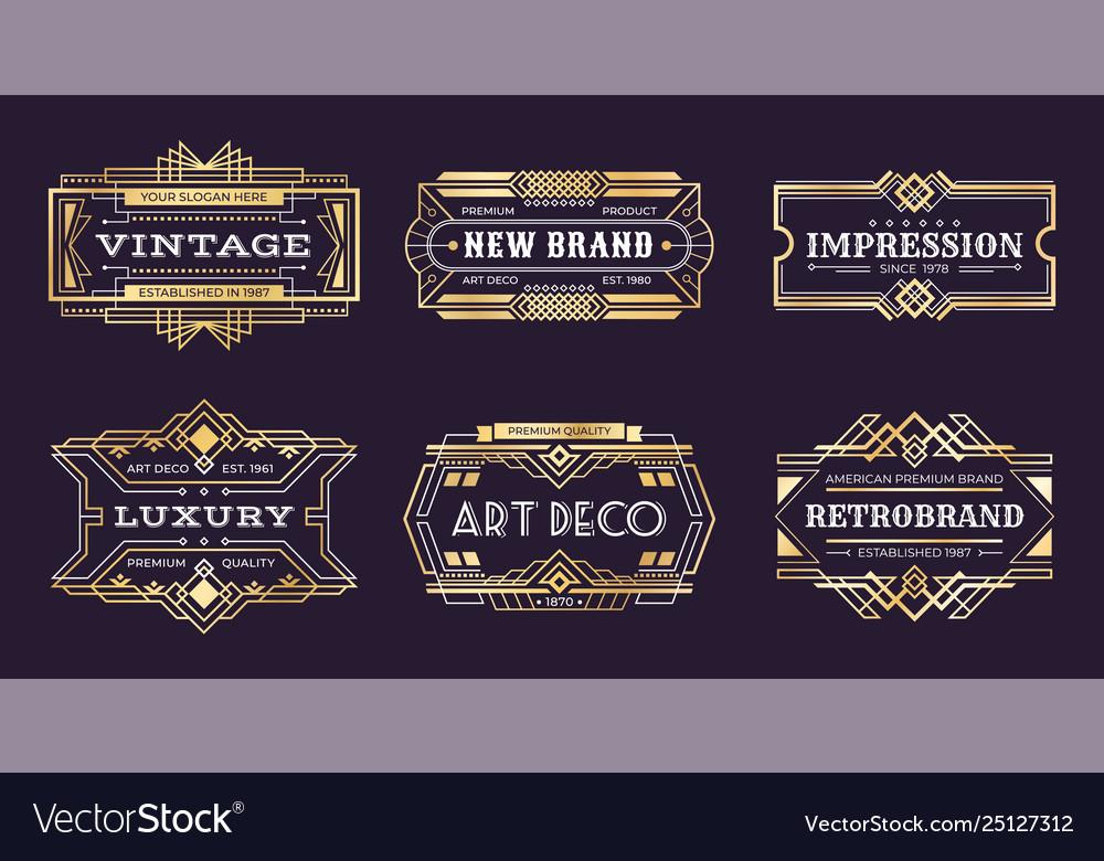 Art deco labels vintage ornamental logos 1920s