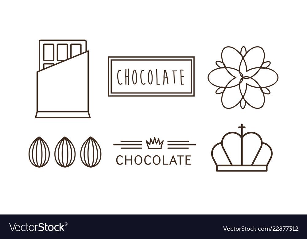 Chocolate line icons set logo label badge or