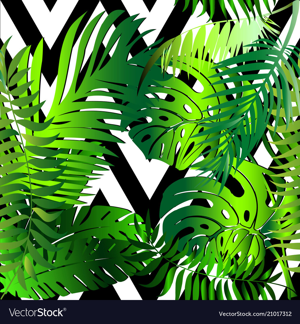 Elegant palm leaves decorative seamless pattern