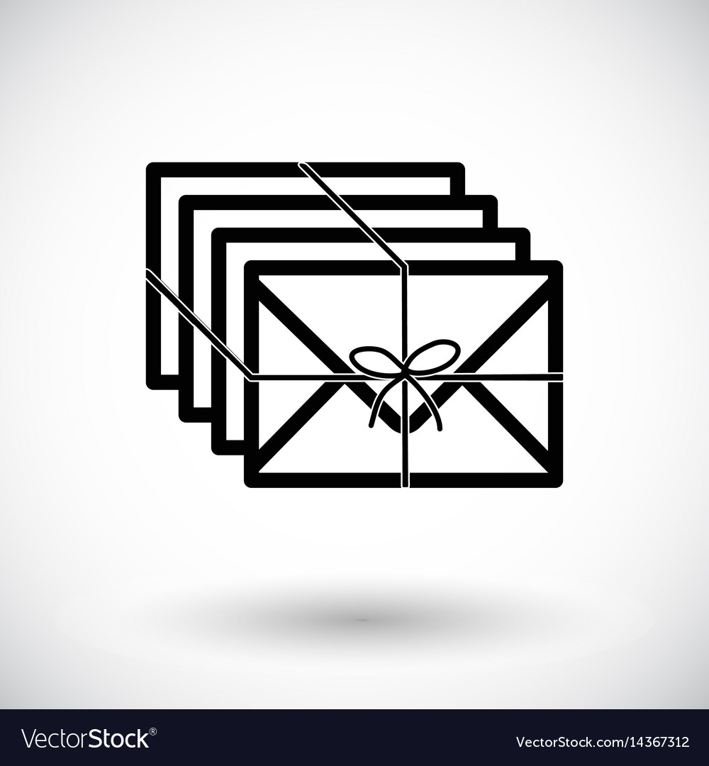 Envelopes with ribbon flat icon