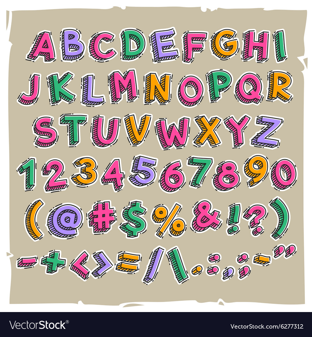 Funny cartoon letters and numbers