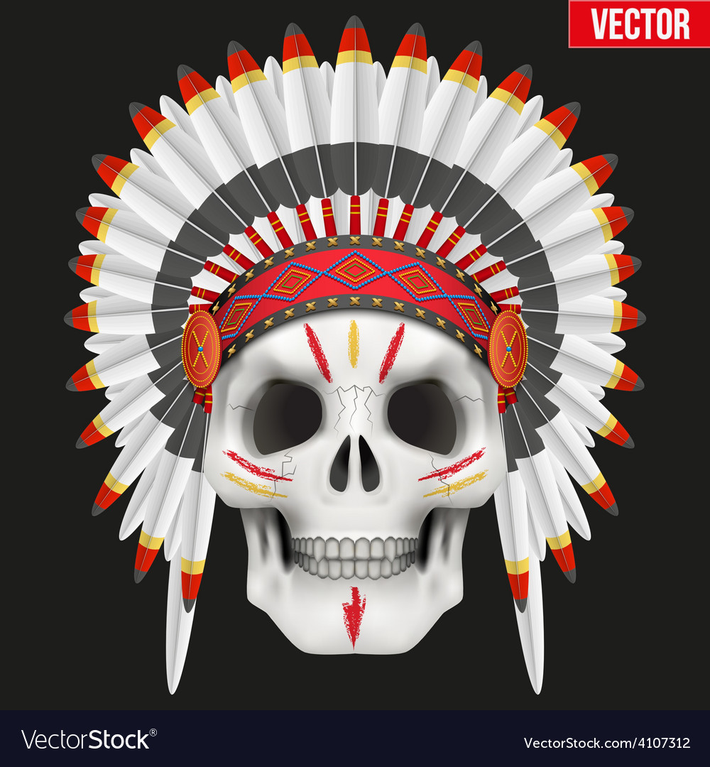 Human skull with indian chief hat and War Paint vector image