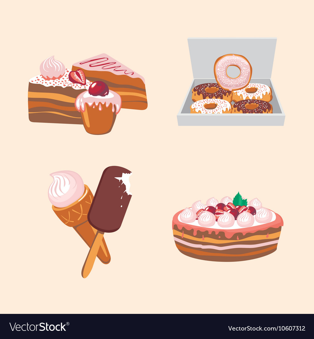Icon set with sweets Cartoon food