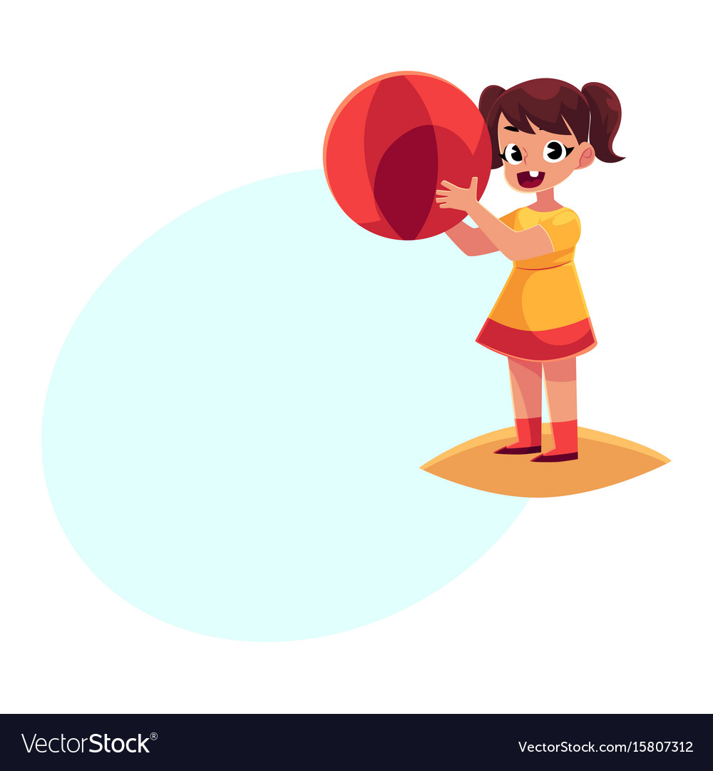 Little girl with inflatable ball standing on beach vector image