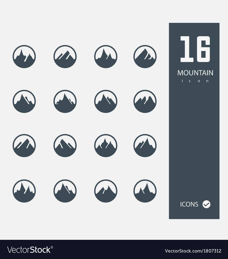 Mountain icons Set of 16 Quality icons vector image