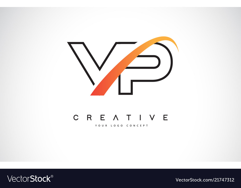 Vp v p swoosh letter logo design with modern