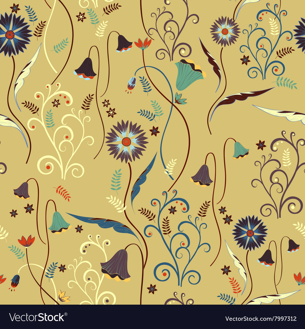Wildflowers pattern with decorative elements vector