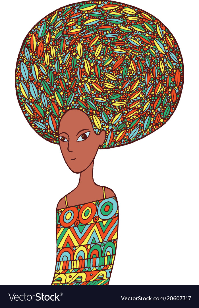 African woman in an ethnic dress doodle cartoon