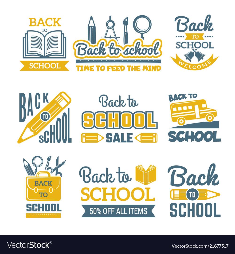 Back to school labels set monochrome
