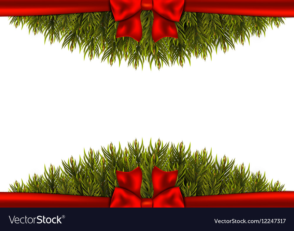 Background with christmas tree branches and a red