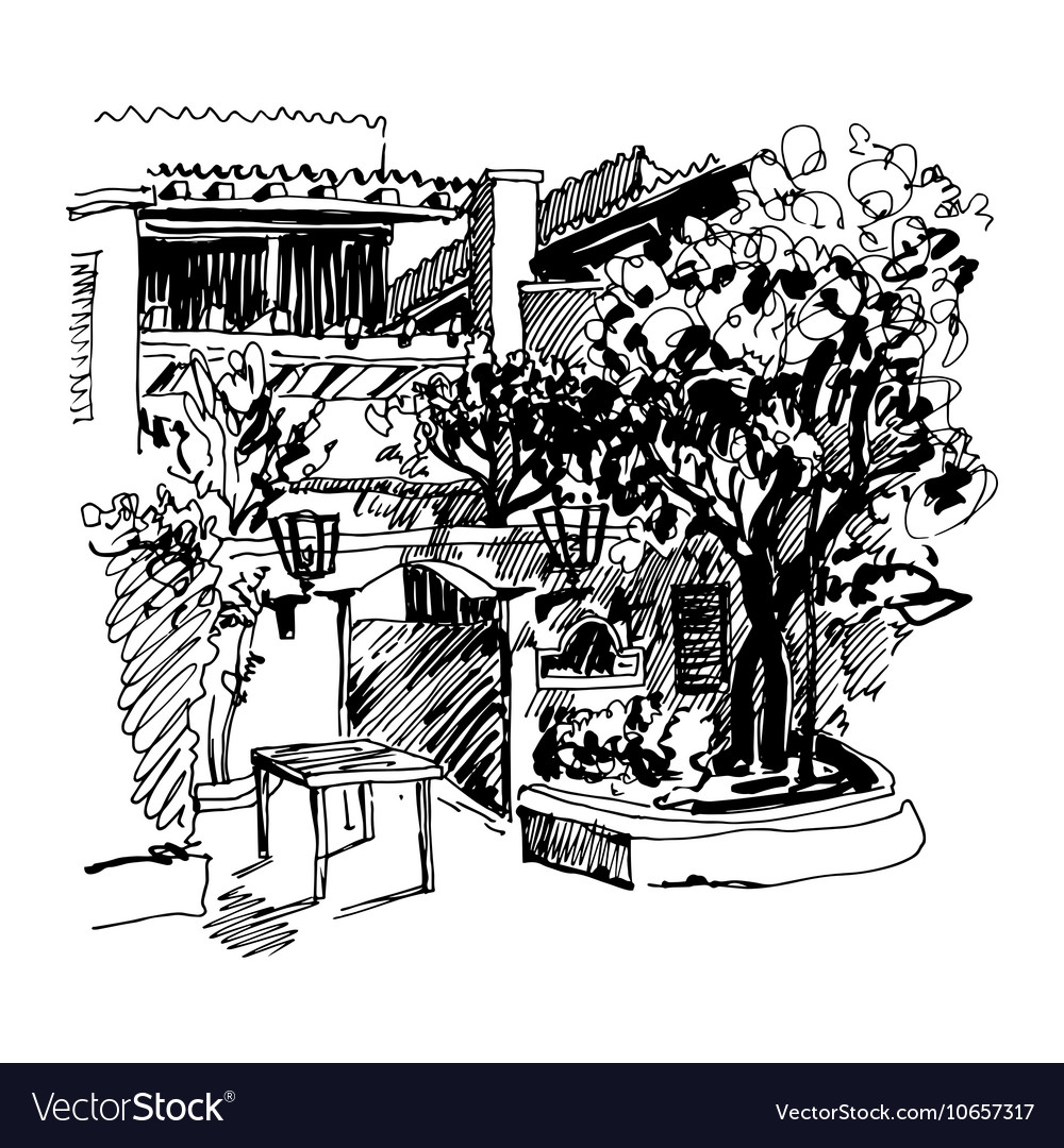 Black and white sketch drawing of Slovenska Plaza vector image