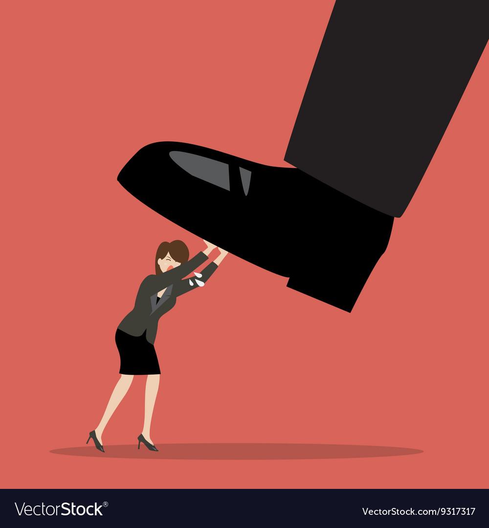 Business woman pushing big foot vector image