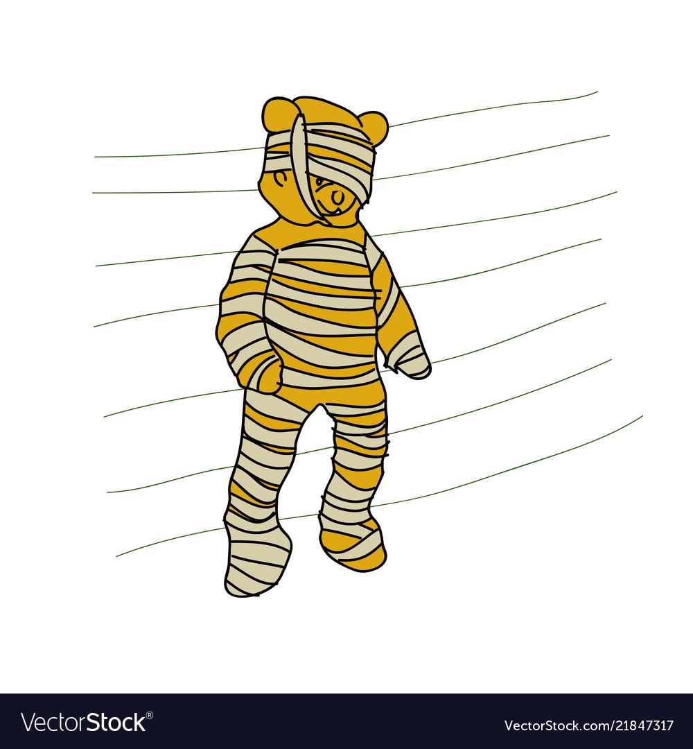 Cartoon doodle teddy bear is a mummy