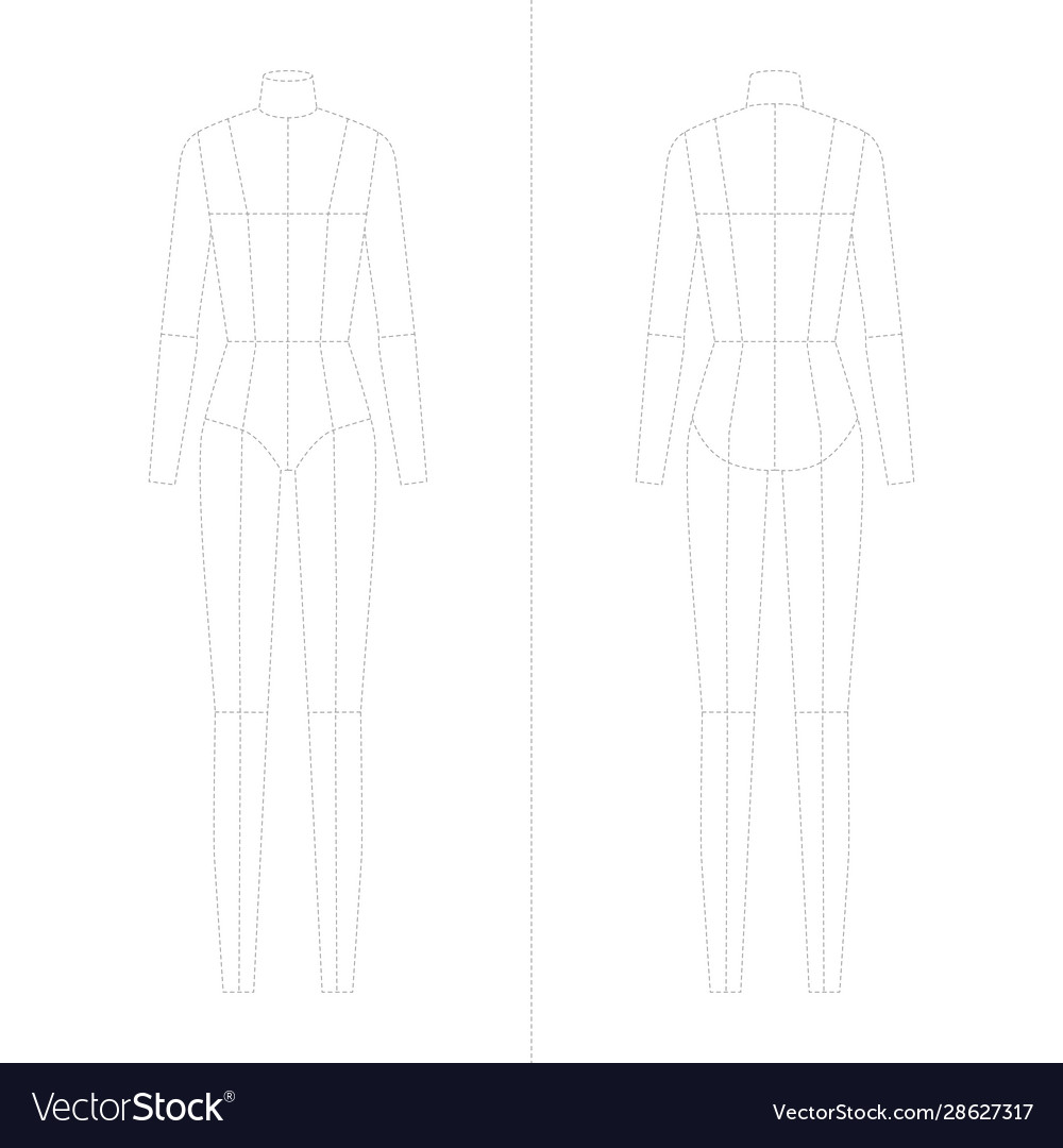 Fashion Template For Women Body Technical Drawings