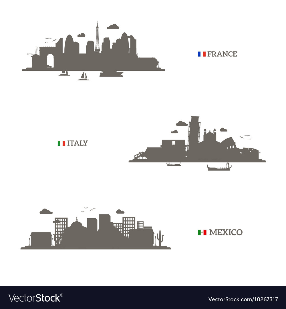 France Italy and Mexico skyline silhouettes