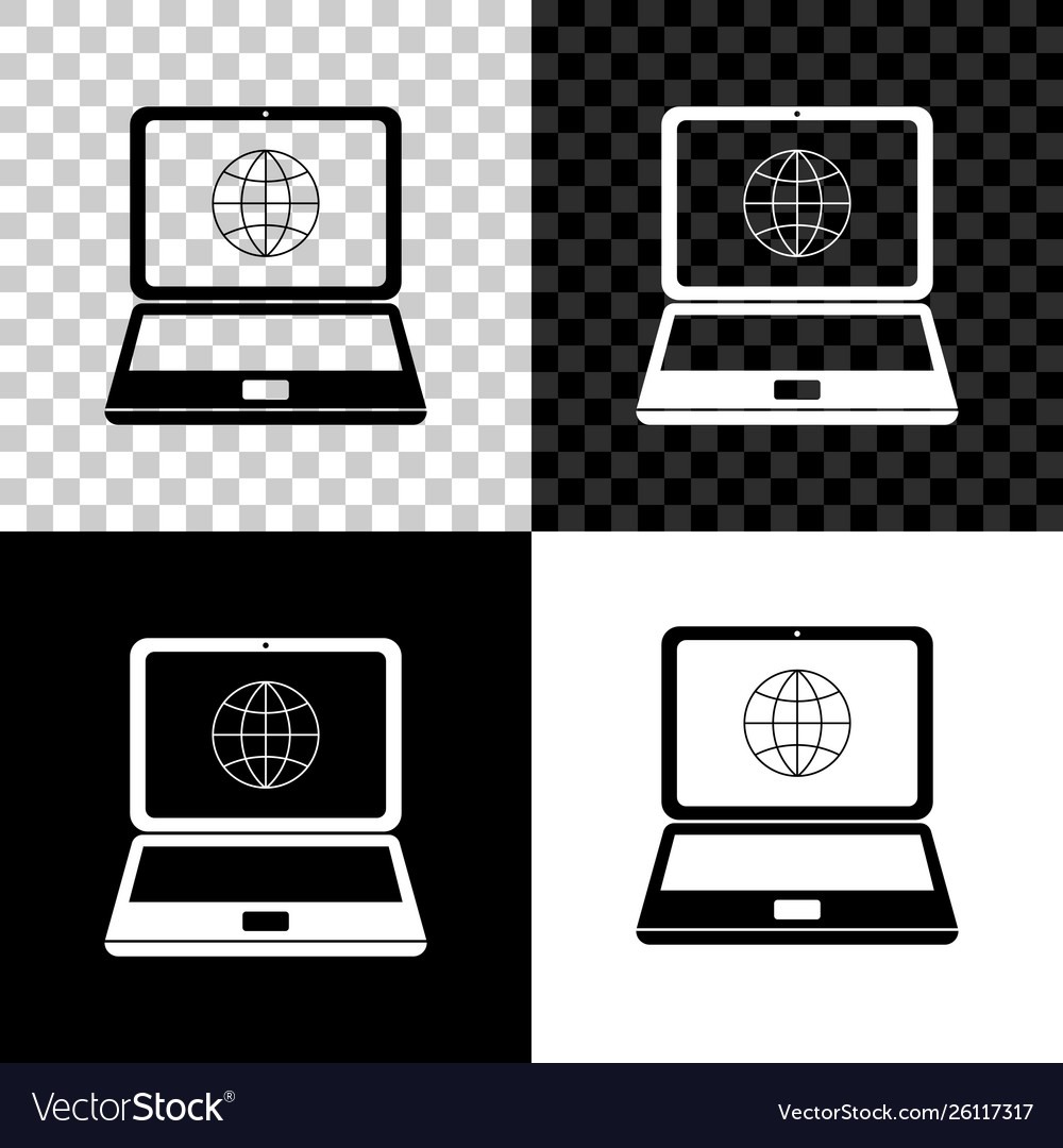 Globe on screen laptop icon isolated on black