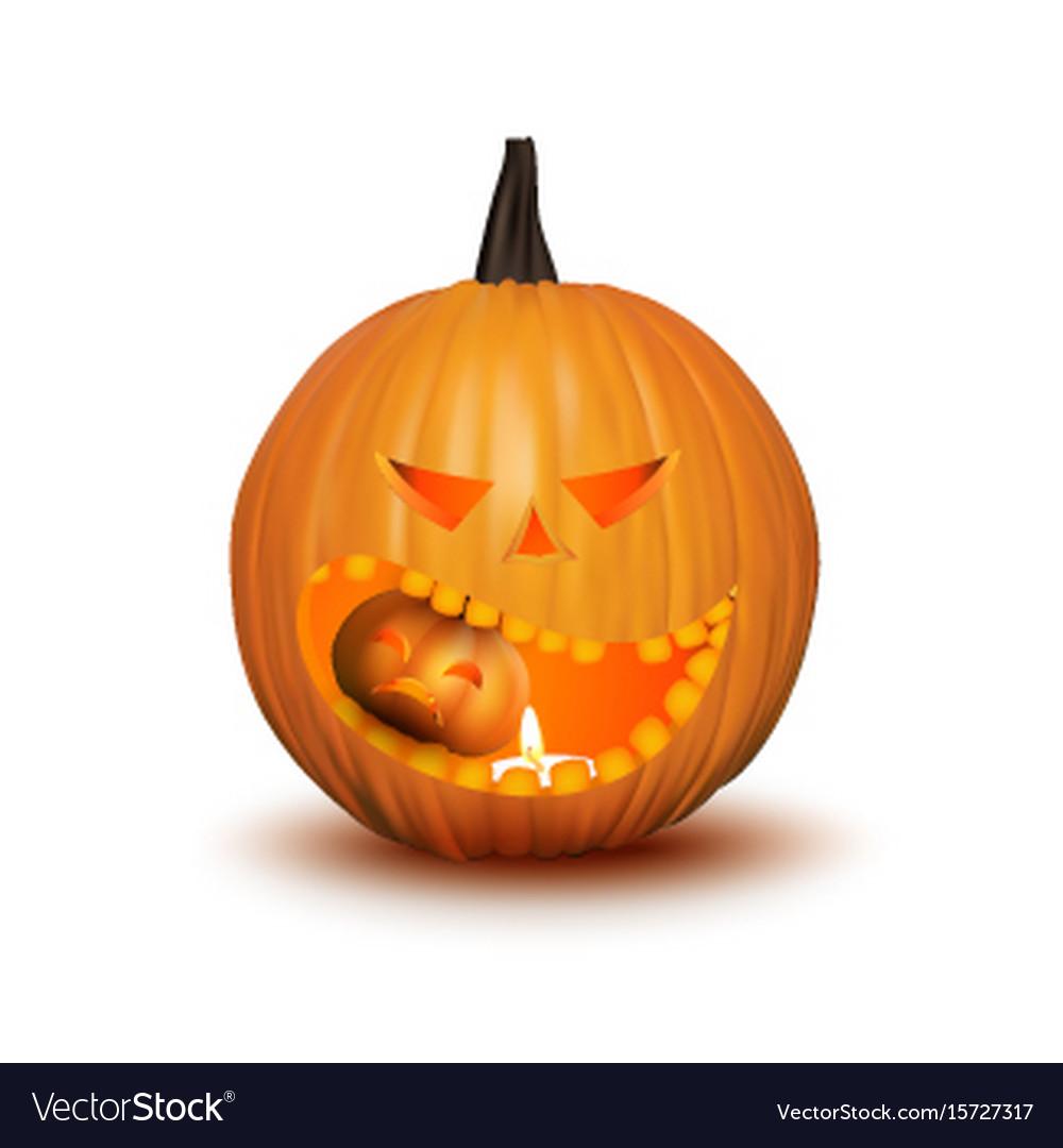 Halloween pumpkin isolated on white vector image