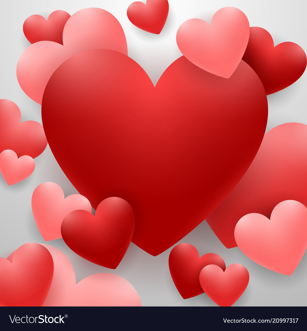 Happy valentines day with red heart on background