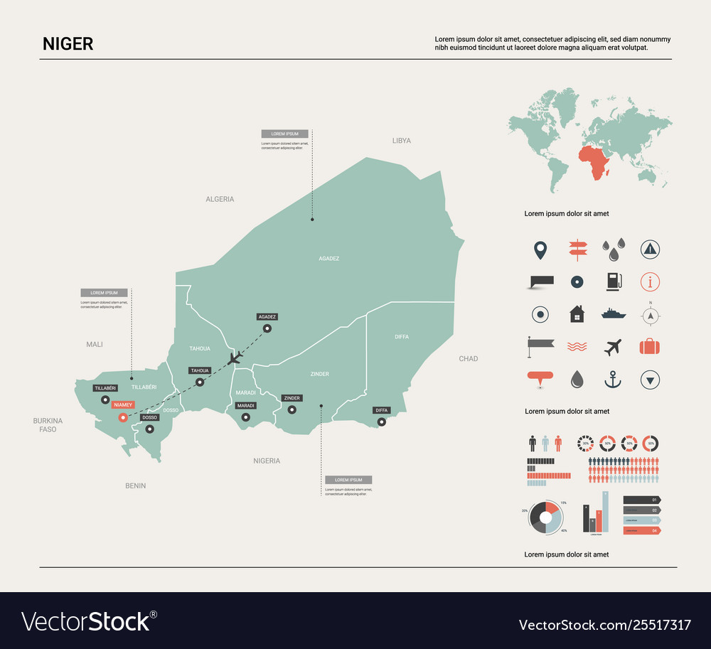 Map niger country map with division cities and