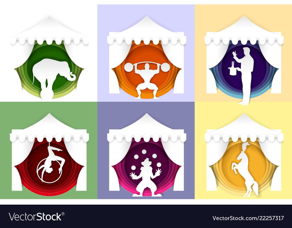 Paper cut circus poster logo card set