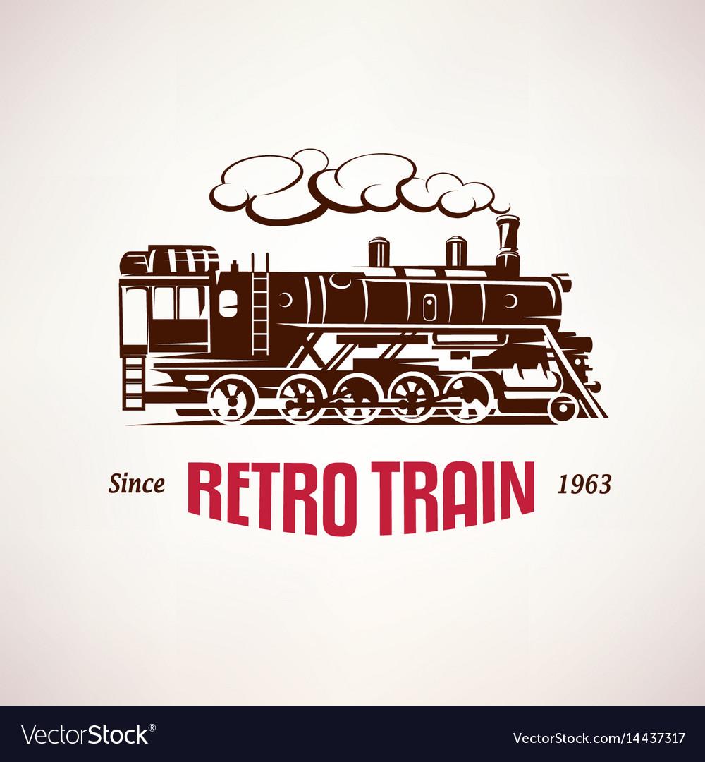 Retro train vintage symbol emblem label