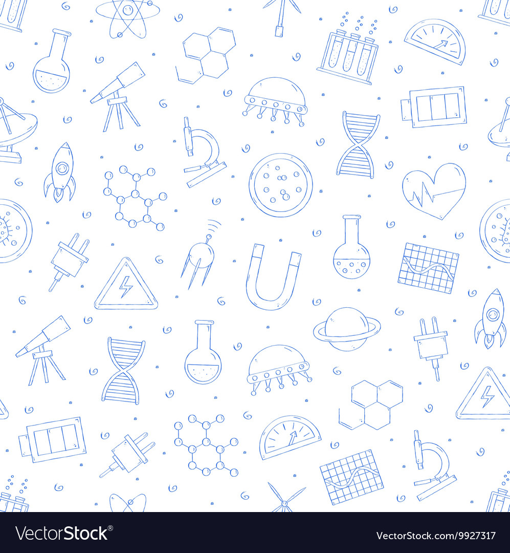 Science research pattern blue icons