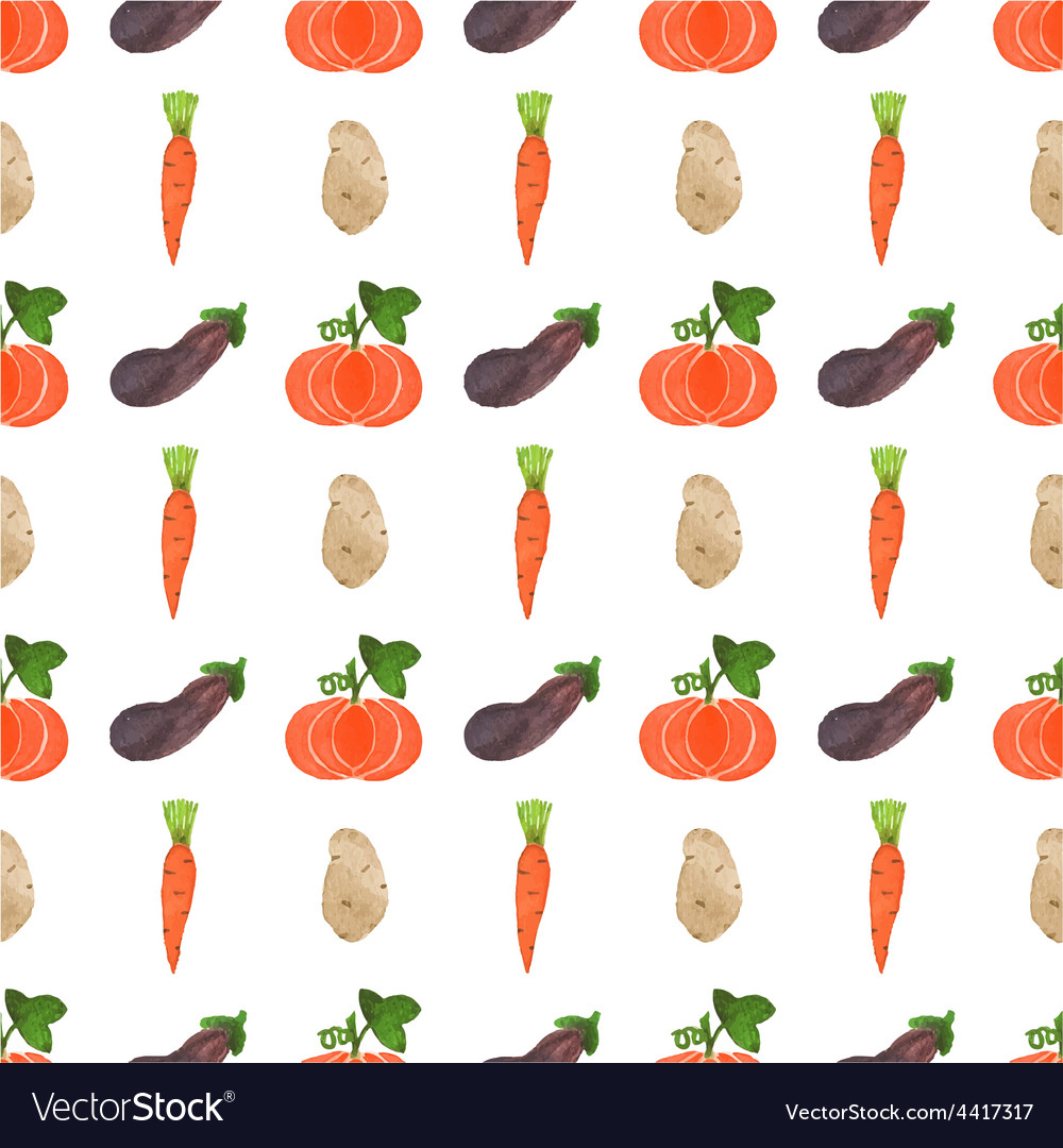 Seamless watercolor pattern with veggies on the