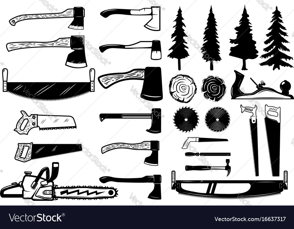 Set Of Carpenter Tools Wood And Trees Icons Vector Image