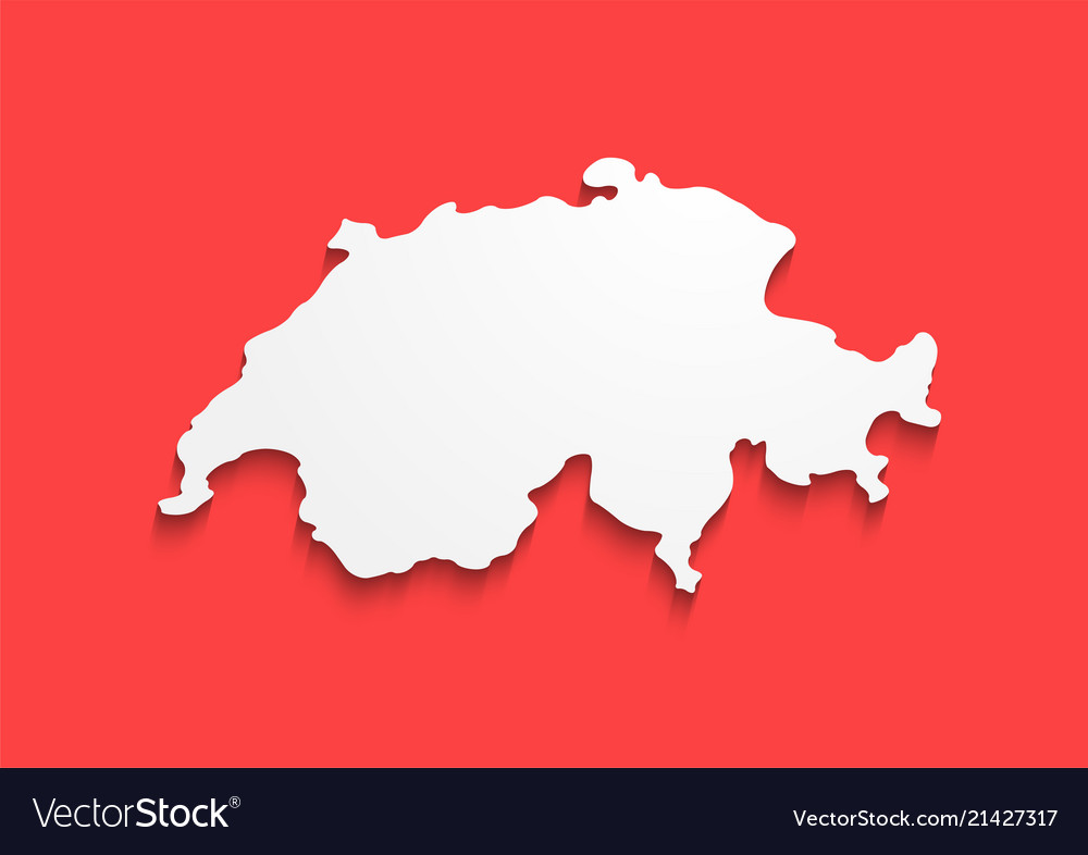 Switzerland contour map in colors of national flag