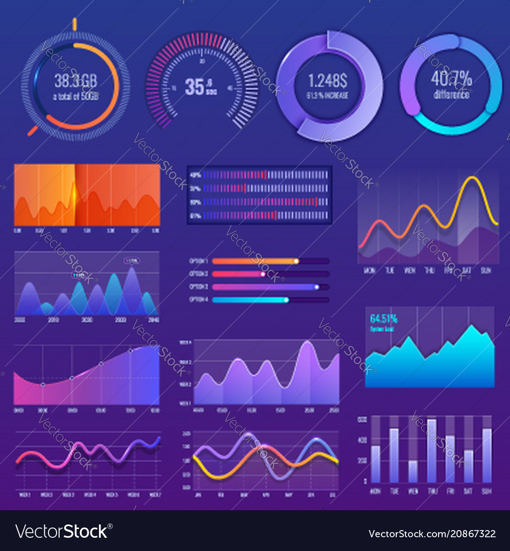 3d chart and graphic diagram with options and