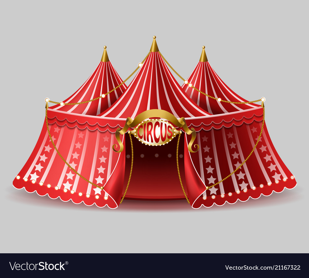 3d realistic circus tent with signboard
