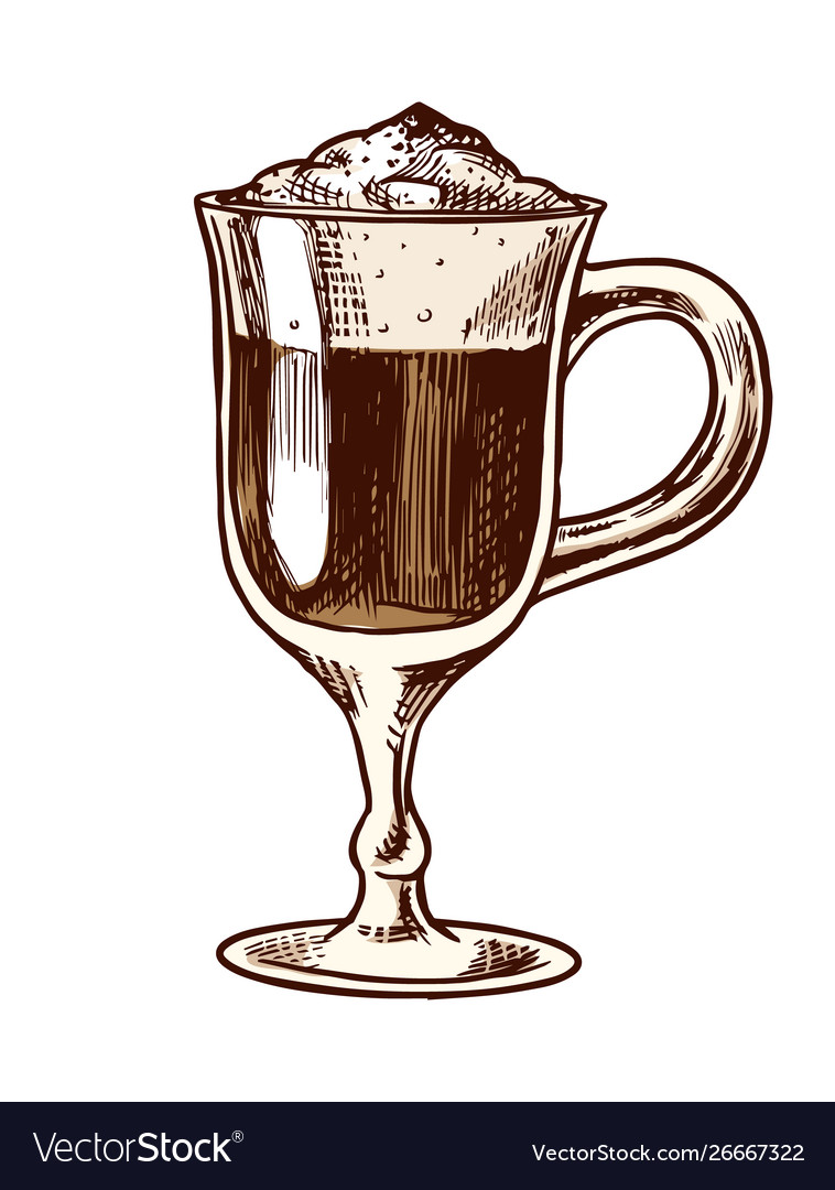 A cup coffee latte in vintage style hand drawn