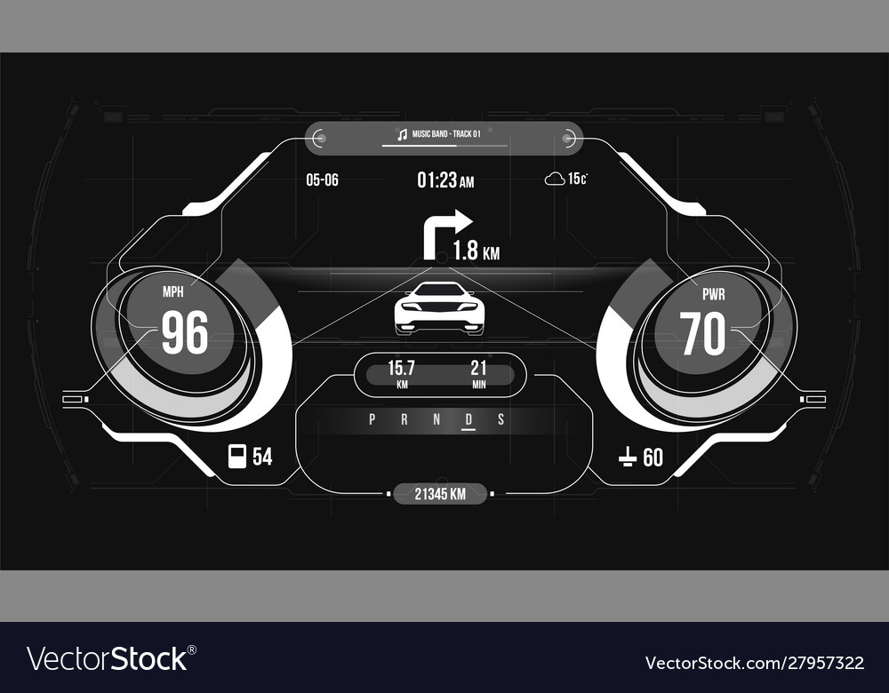 Car hud dashboard abstract virtual graphic touch