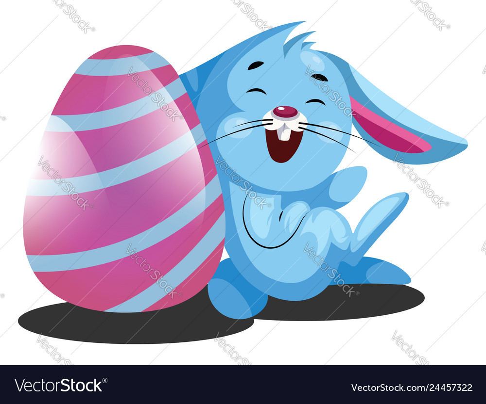 Decorated easter egg and little blue rabbit web