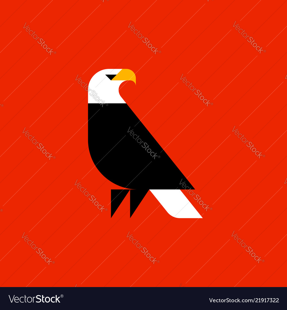 fat style logo template of bald eagle royalty free vector