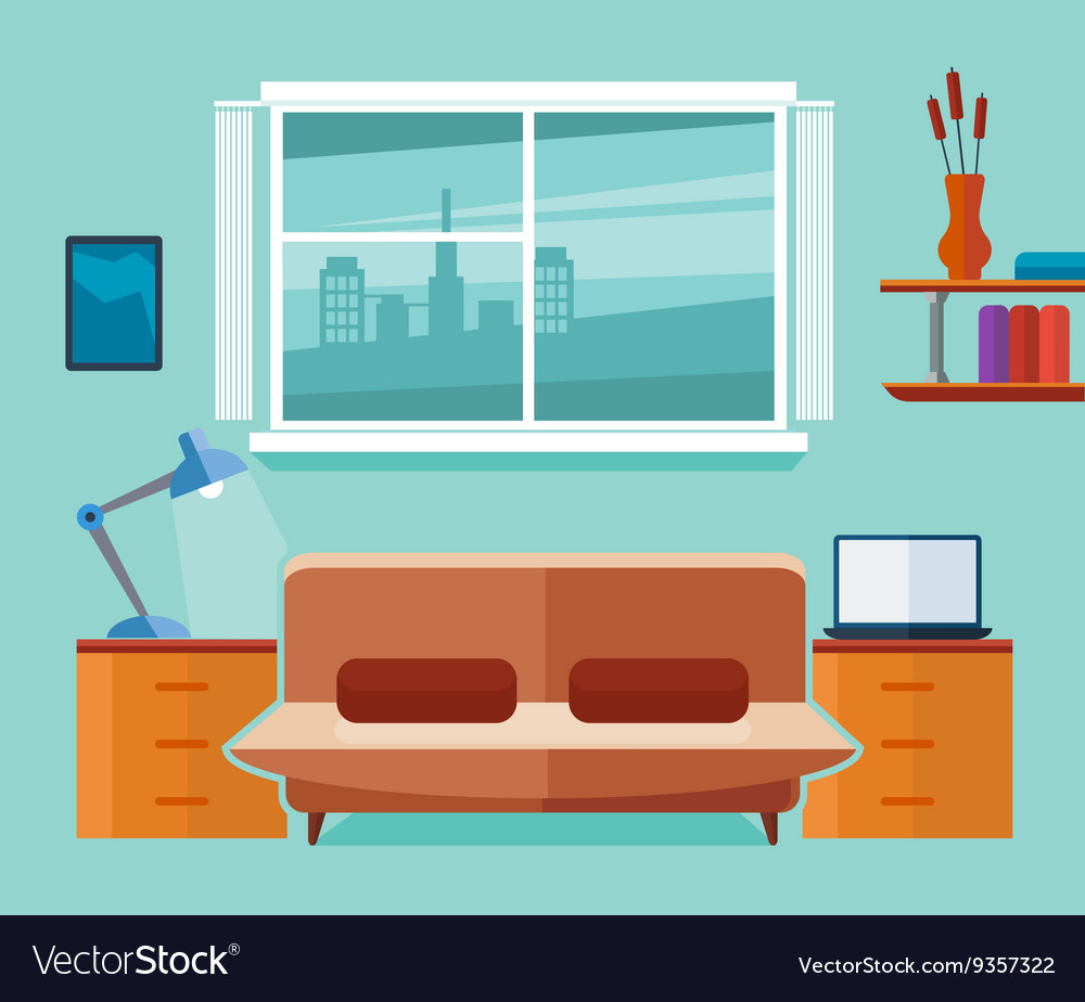 Home office interior with sofa and laptop