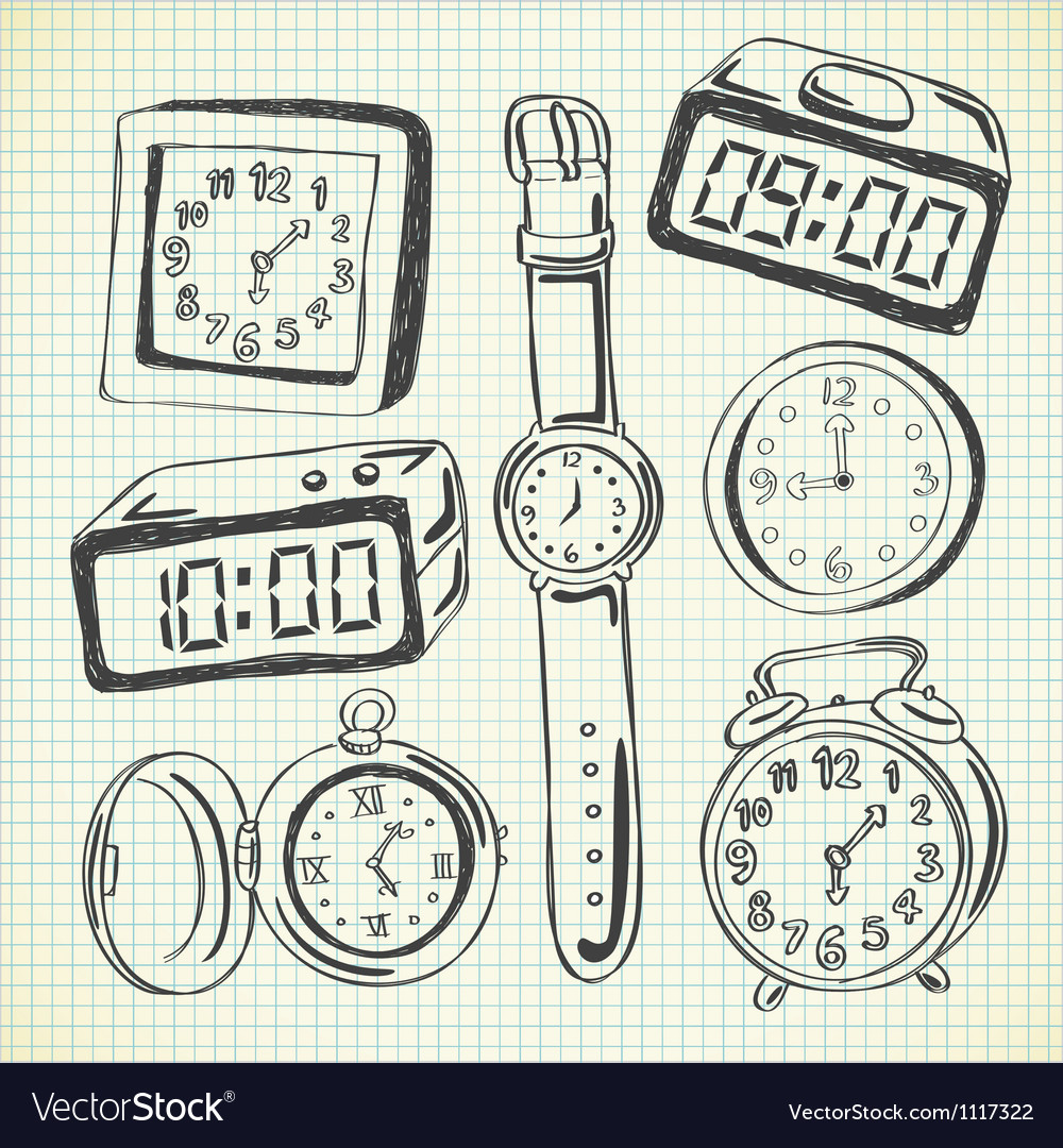 Set of various watch and clock doodle