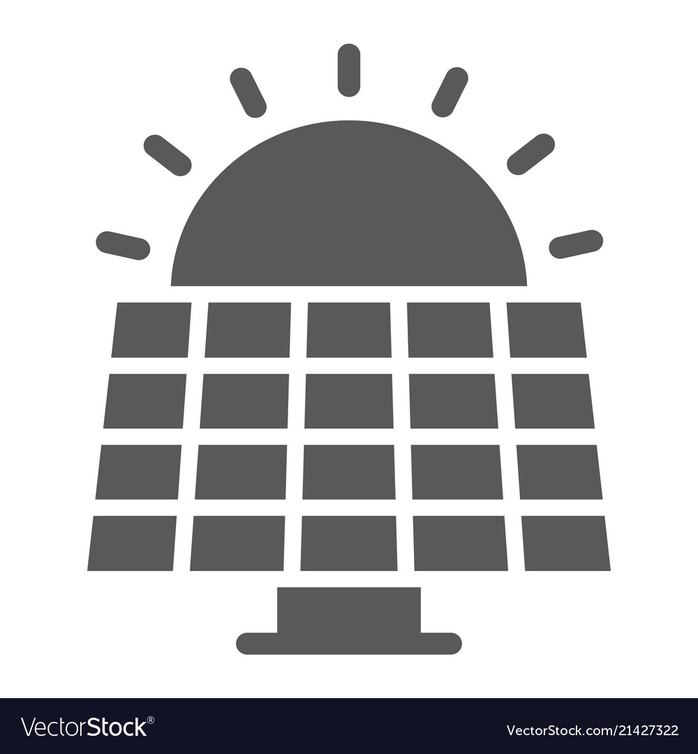 Solar panel glyph icon ecology and energy
