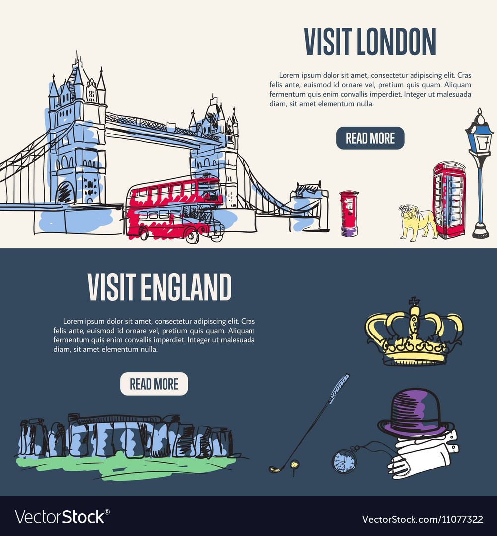 Visiting England and London Touristic Web Banners