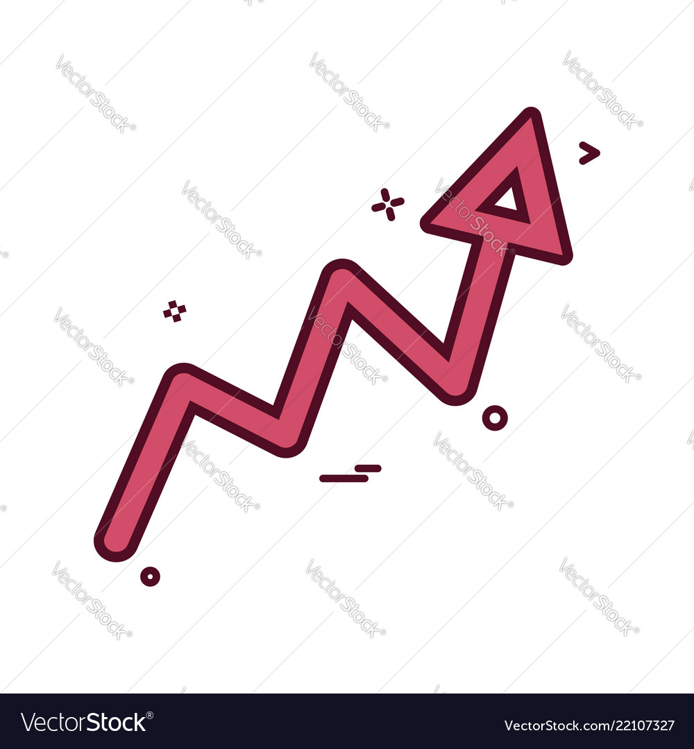 Arrow graph progress up icon design
