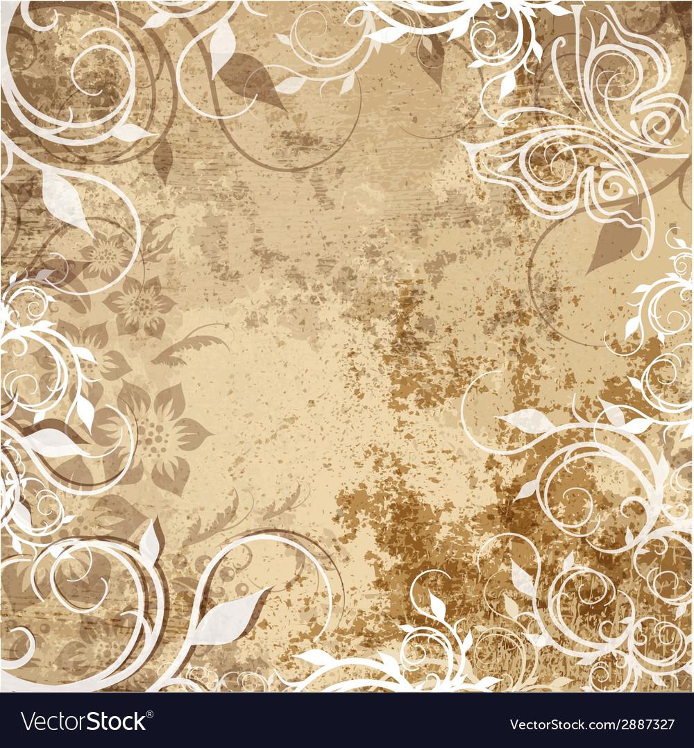 Floral pattern on grunge background