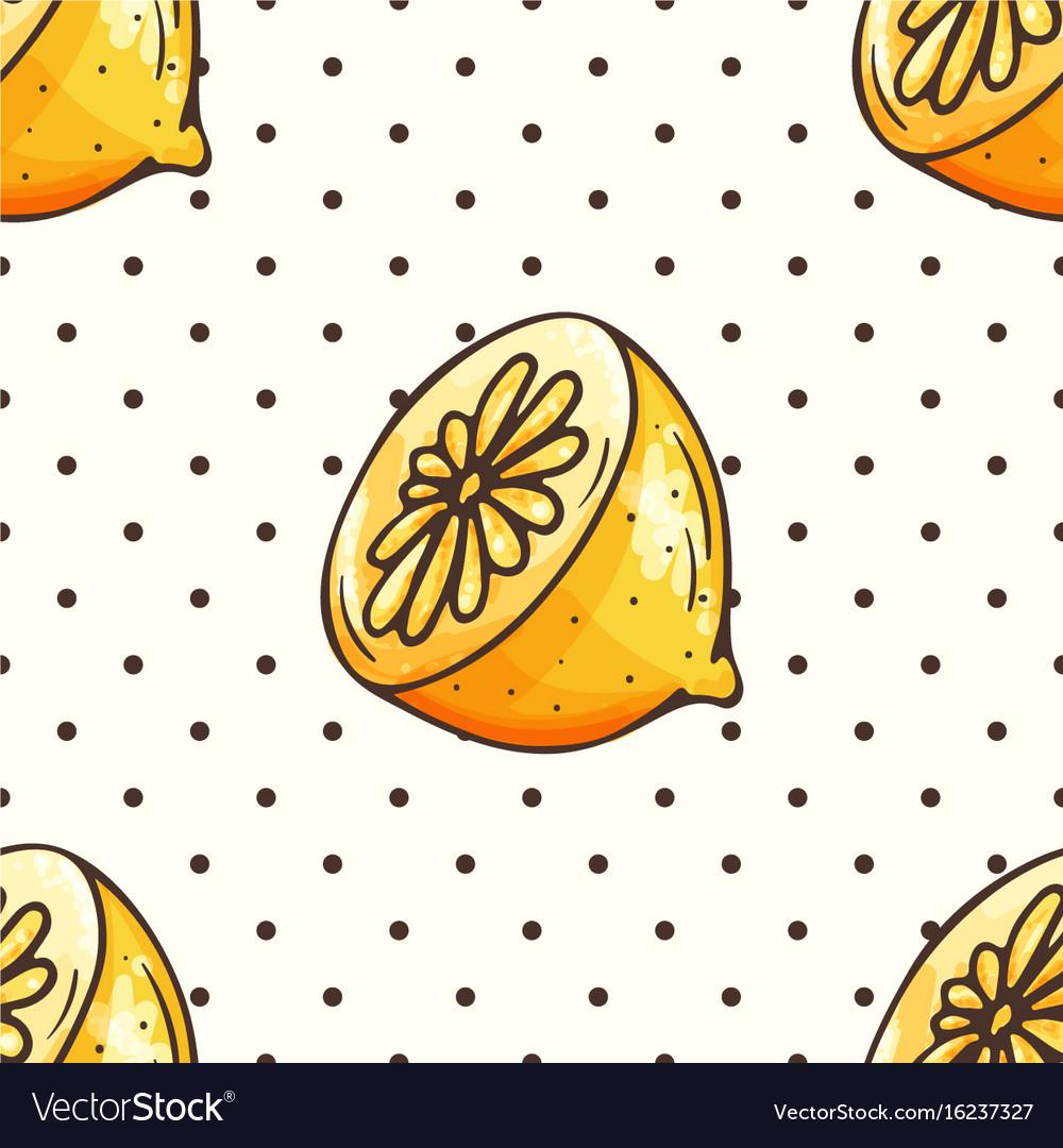 Lemon pattern with polka dots