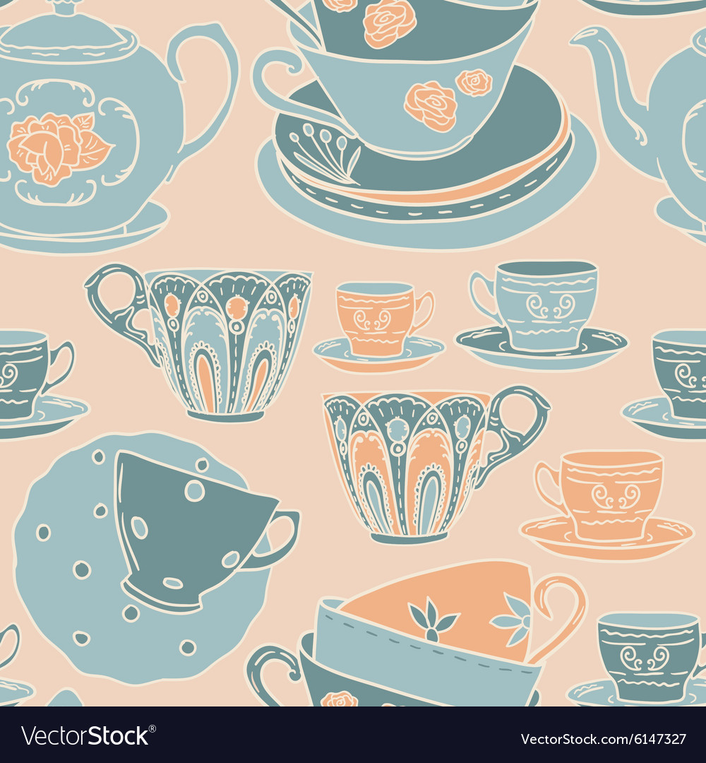 Seamless pattern with teapots teacups