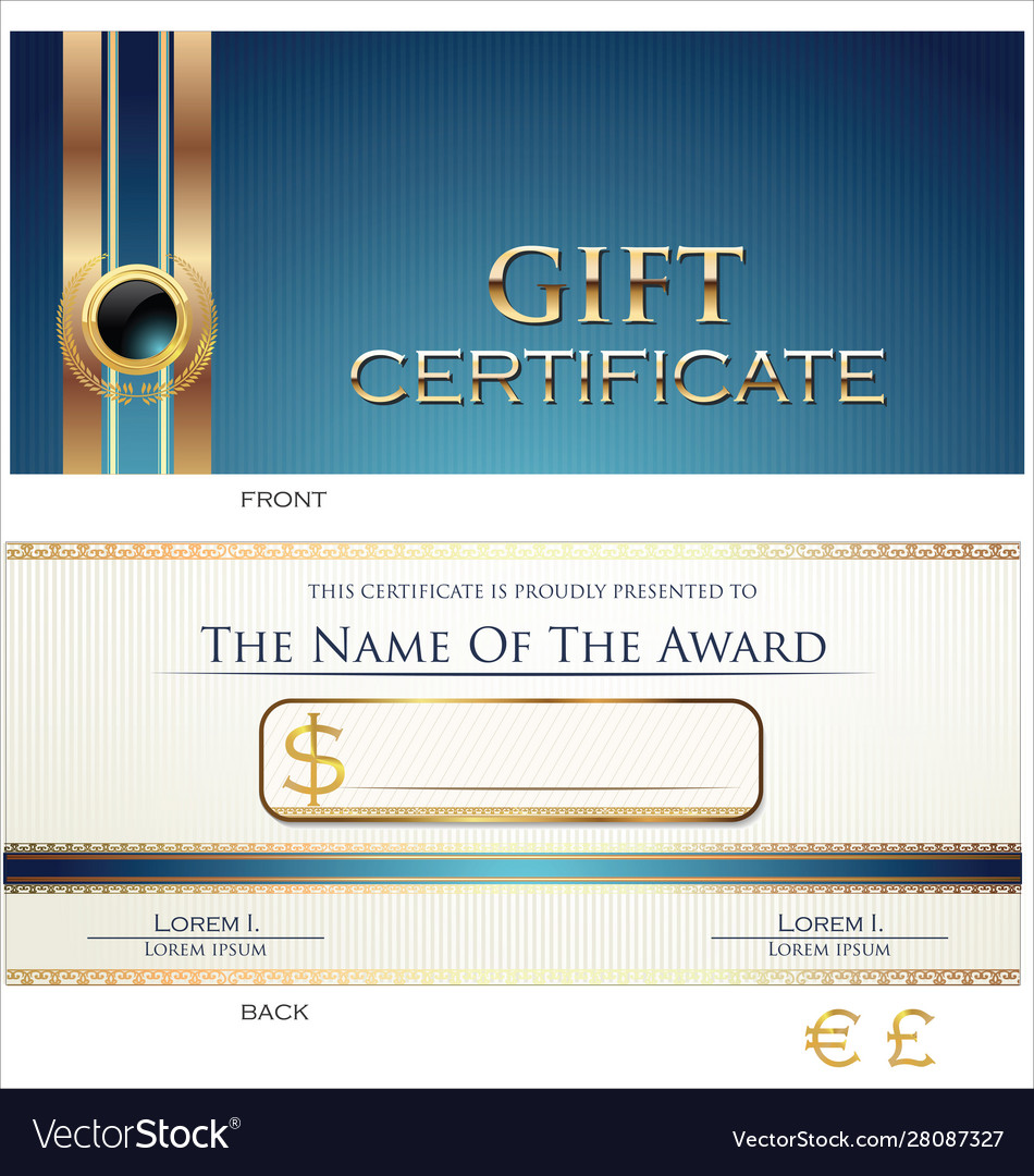 Voucher gift certificate coupon blue layout
