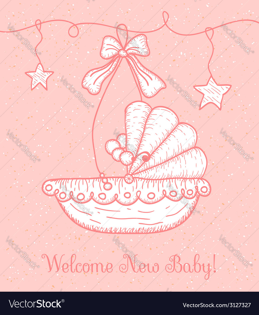 Welcome new baby greeting card with cradle vector image m4hsunfo