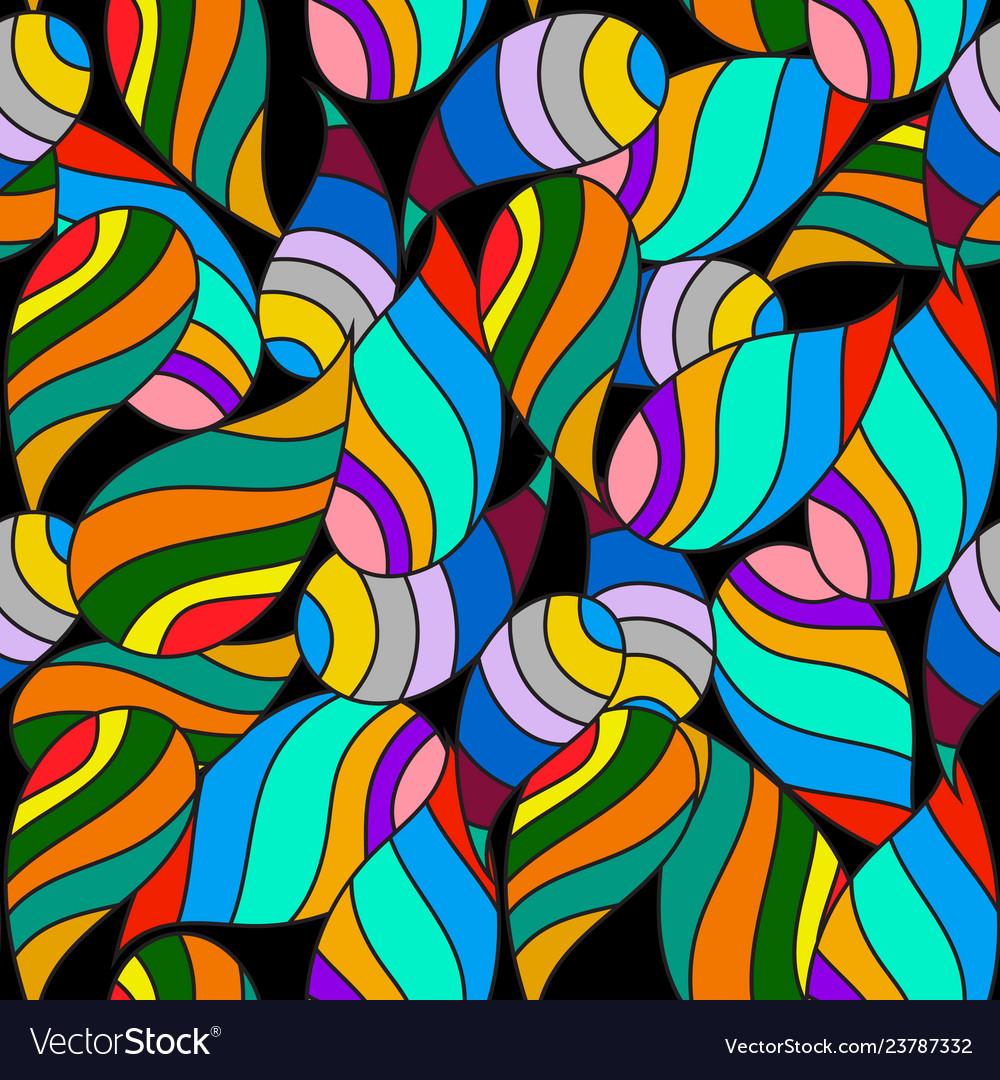 Colorful striped paisley seamless pattern