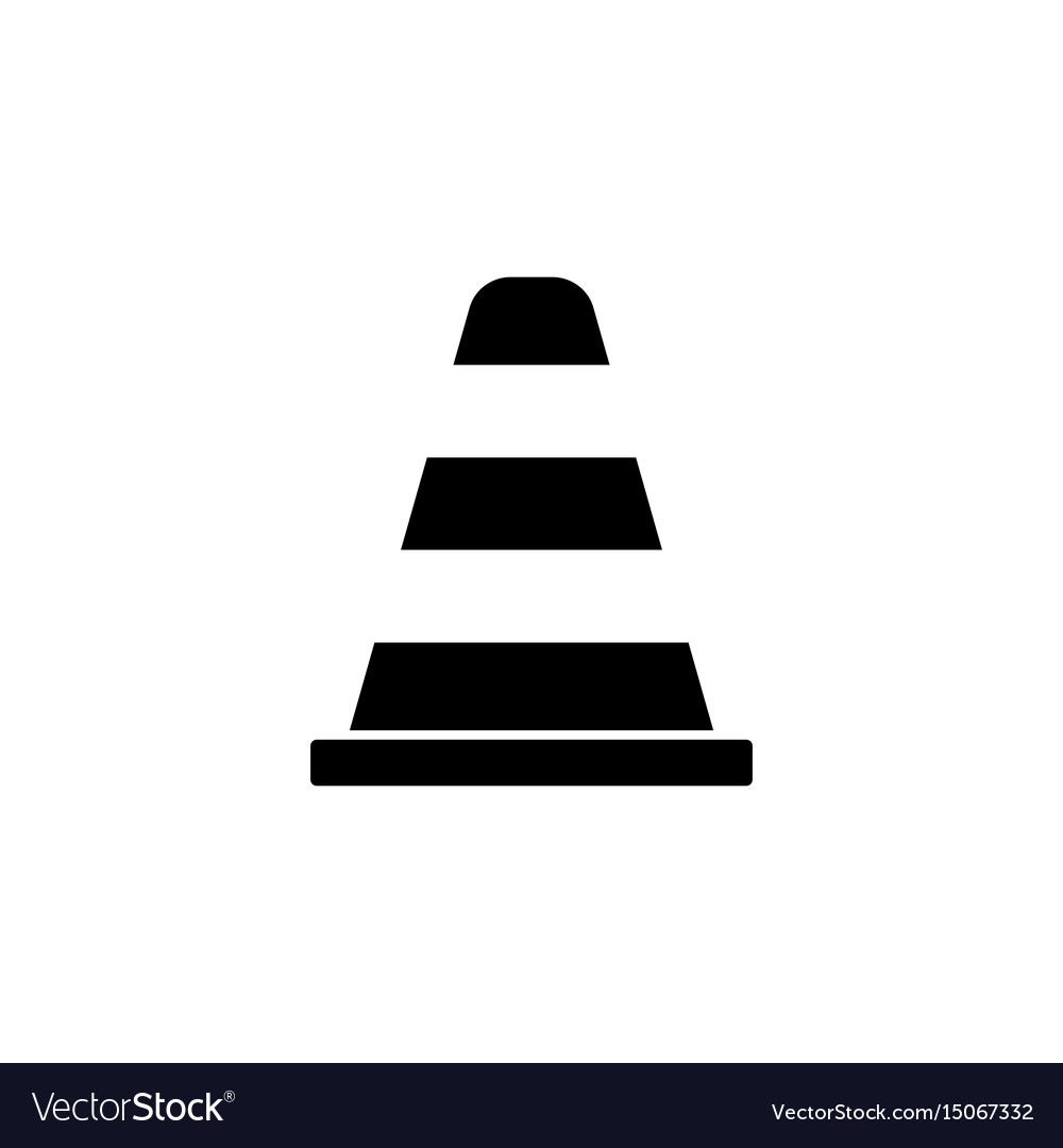 Cone solid icon navigation and traffic warning vector image